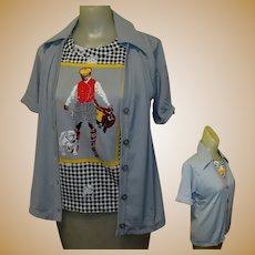 Vintage Blouse, Knit Top. 50's 60's, Golfer & Bulldog