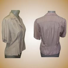 Silk Blouse, Vintage 1940's, Beige, Tailored
