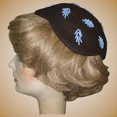 Deco Hat 1944 Beaded Skull Cap / Hat Marshall Field & Co.
