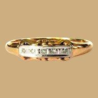 14K Gold Diamond Band, Vintage Wedding Ring / Egagement