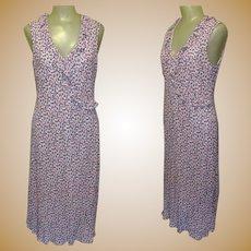 Vintage 90's Laura Ashley Dress, Floral & Ruffles, Tea Length Cross Over