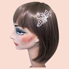 Vintage Rhinestone Hair Comb / Barrette, Crystal Butterfly