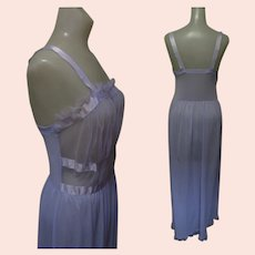 Vintage 50's Negligee, Night Gown, Sheer Lavender