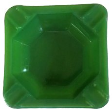 Akro Agate Ash Tray, Square Jadite Depression Glass