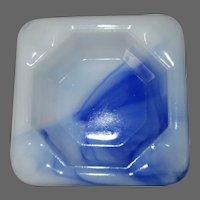 Akro Agate Ash Tray, Square Blue & White Depression Glass