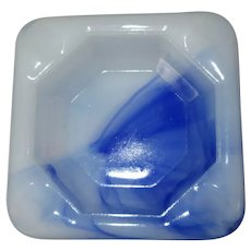 Akro Agate Ash Tray, Square Blue & White Depression Glass