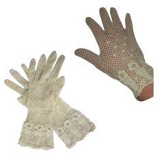 Vintage Wedding Gloves, 30's Hand Crocheted, Ecru, Flowers