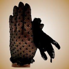 Black Lace Gloves, Vintage 80's