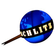 Vintage Schlitz 1956 Revolving Globe Bar Light, Works