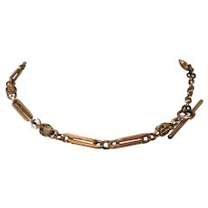 Victorian Watch Chain / Necklace, Gold Filled / Dog Clip