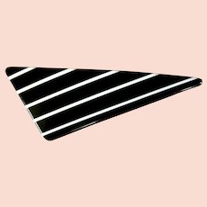 Vintage Barrett / Hair Clip, Black & White Stripes, 1970's