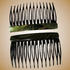 Vintage French Hair Combs, Pair, Green Marbled, Side Combs, 80's