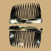 Vintage Hair Combs, Black & White Marbled, 1980's