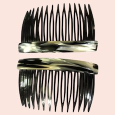 Vintage Hair Combs, Black & White Marbled, 1980's