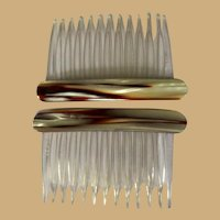 Vintage Side Combs, 80's Hair Combs, Marbled Brown