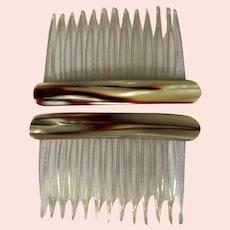Vintage Side Combs, 80's Hair Combs, Marbled Brown