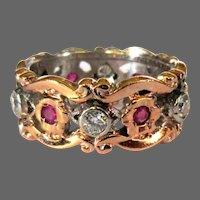 14K Rose Gold Ring / Band, Filigree, Rubies, Diamonds, Retro 1940's