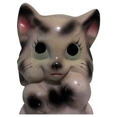 Chalkware Big Eyed Cat Bank, 1940's Carnival Prize