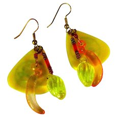 Guitar Pick Earrings, Bright Yellow, Lemons & Bananas, Fender