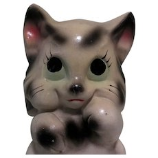 Chalkware Big Eyed Cat Bank, 1940's Carnival Prize