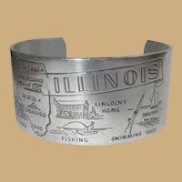 Illinois Bracelet, Vintage State Souvenir, 1950's Aluminum, Mid Century