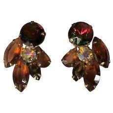 Vintage Rhinestone Earrings, Ear Climbers, Fall Colors, 50's