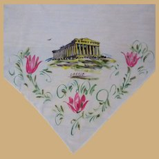 Vintage Scarf, Parthenon, Hand Painted Souvenir of Greece