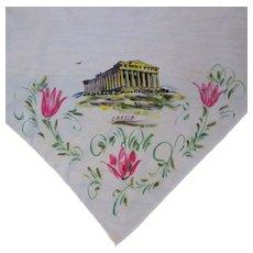 Vintage Scarf, Parthenon, Hand Painted Souvenir of Greece