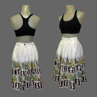 Vintage Border Print Skirt, 1950's Jitterbug Skirt, Mid Century Print