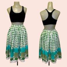 Mid Century Skirt, Cotton Border Print, 50's Jitterbug