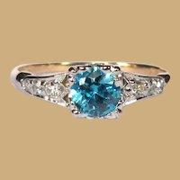 Vintage Engagement Ring, 14K Gold, Diamonds, 1940's