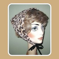Vintage Leopard Print Head Scarf, 60's Triangle with Ties