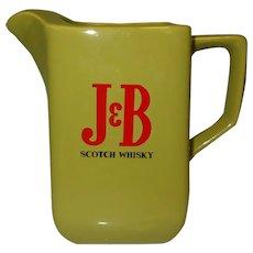 J & B Whiskey Pitcher, Vintage 60's Water Jug / Mixing Pitcher