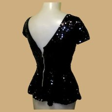 Black Sequined Top / Blouse, Vintage 40's Look, Peplum.
