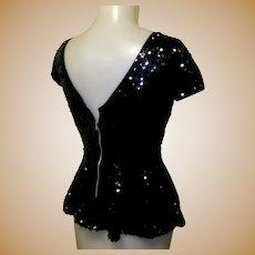 Black Sequined Top / Blouse, Vintage 40's Look, Peplum.