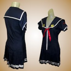 Vintage Sailor Dress, 1960's Drop Waist Mini, Pleated Navy
