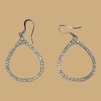 Rhinestone hoop earrings, vintage 80's