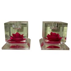 Vintage Lucite Candle Holders, Reverse Carved Roses, Pair, 50's