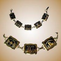 Vintage New York Souvenir Bracelet, Repousse Links & Lucite Cabs