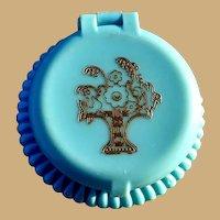 Cara Nome Rouge Compact, Vintage 30's 40's, Blue Celluloid, Deco