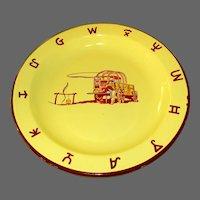 Monterrey Western Ware Metal Enamelware Plate, Chuckwagon, Vintage 1950's,Mexico
