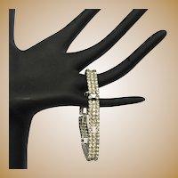 Art Deco Bracelet, 30's Rhinestone Link, Clear Stones