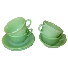 Jane Ray 4 Cups & 3 Saucers & 1 Bowl, Jadite Fire King Glass