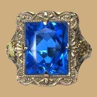 Art Deco 14K Gold Filigree Ring, WG & YG