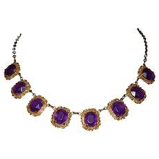 Purple Stone Necklace, Vintage Lucite or Plastic, Victorian Revival