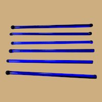 Glass Swizzle Sticks, Art Deco Blue, Vintage 30's 40's, Set of 6