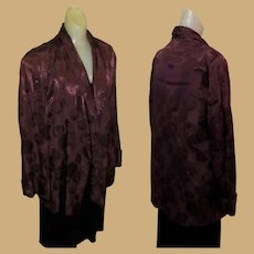 Vintage Smoking Jacket, 40's Satin Brocade Robe, Art Deco Maroon