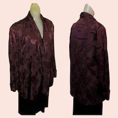 Vintage Smoking Jacket, 40's Satin Brocade Robe, Art Deco Maroon