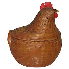 Vintage Chicken Basket, Oval Basket with Nesting Chicken Lid, Shanghai
