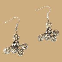 Vintage Rhinestone Earrings, 60's Crystal Balls